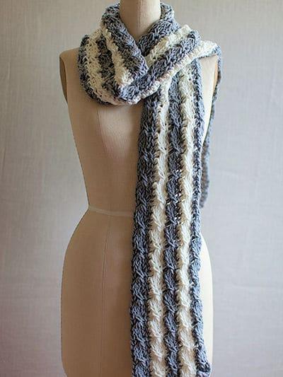 Tunisian Mock Cable Scarf | CrochetKim Free Crochet Pattern