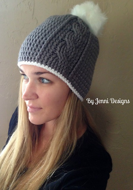 Women\'s Vertical Cable Beanie Free Crochet Pattern