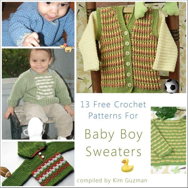 Link Blast: 13 Free Crochet Patterns for Baby Boy Sweaters