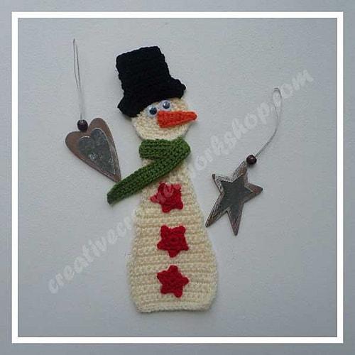 Free Crochet Pattern: Snowman Applique