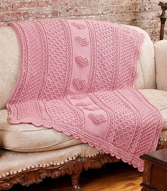 Aran Hearts Throw Free Crochet Pattern Crochetkim