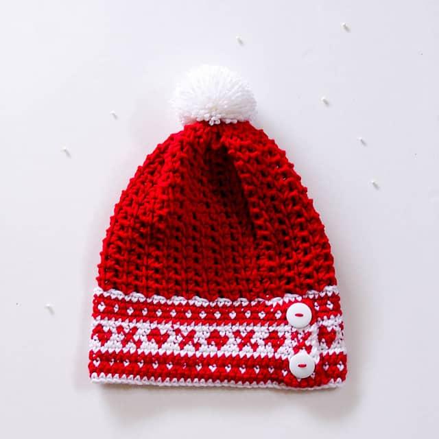Free Crochet Pattern: Fair Isle Slouchy Hat