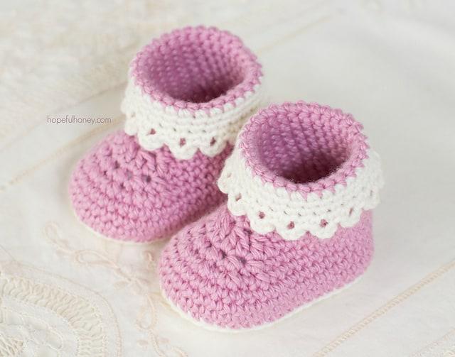 Pink Lady Booties Free Crochet Pattern