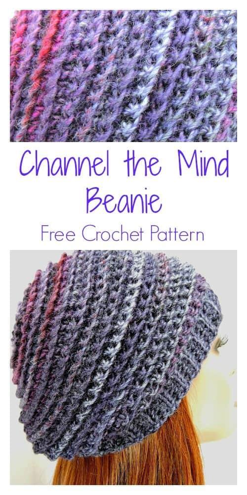Channel the Mind Beanie CrochetKim Free Crochet Pattern