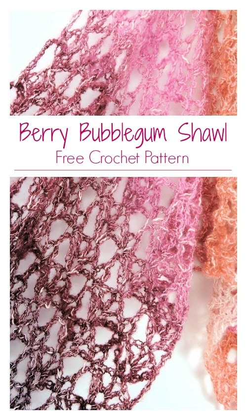 Berry Bubblegum Fling Wrap Shawl CrochetKim Free Crochet Pattern