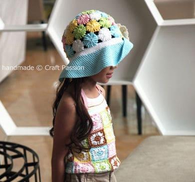 Free Crochet Pattern: Yo Yo Puff Wide Brim Hat