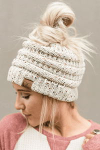 Three Bird Nest Knit Messy Bun Beanie