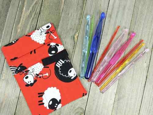 Make It Crochet Prize Entry: Little Sheep Crochet Hook Case with Set of Nine Acrylic Crochet Hooks