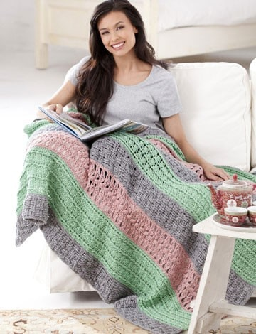 Free Crochet Pattern: Soft Stripes Throw