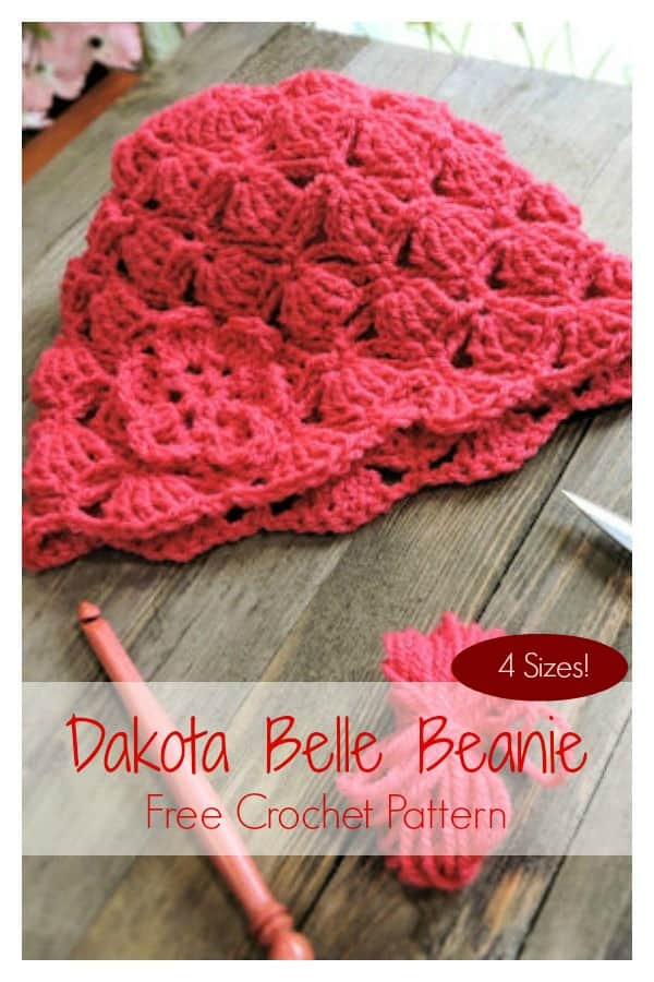 Dakota Belle Beanie Free Crochet Pattern 4 Sizes