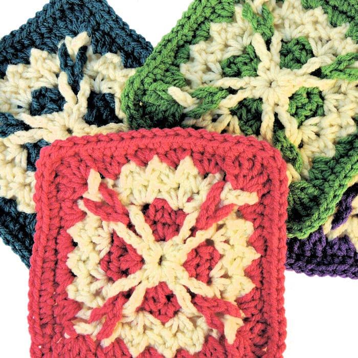 Bailey Afghan Square Motif | CrochetKim Free Crochet Pattern