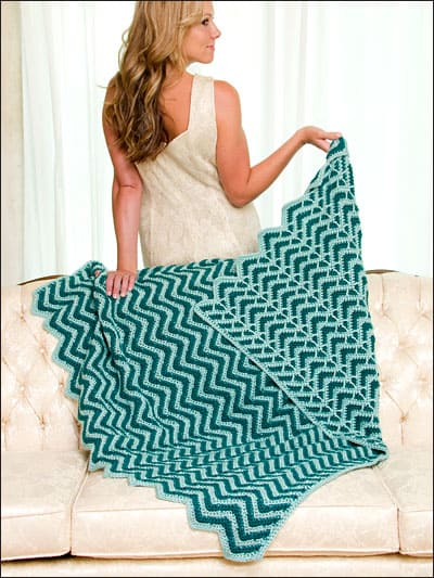Bahama Twilight Ripple: Reversible Ripple Afghans by Kim Guzman