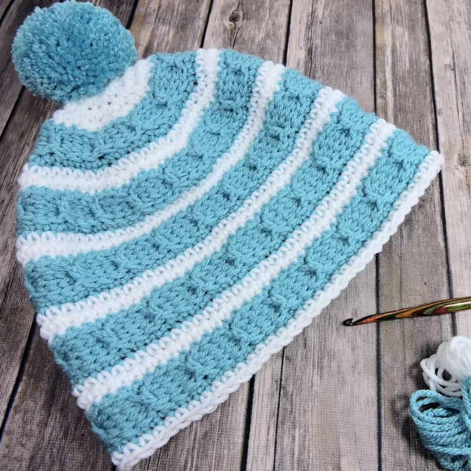 Cables Around Beanie   CrochetKim Free Crochet Pattern