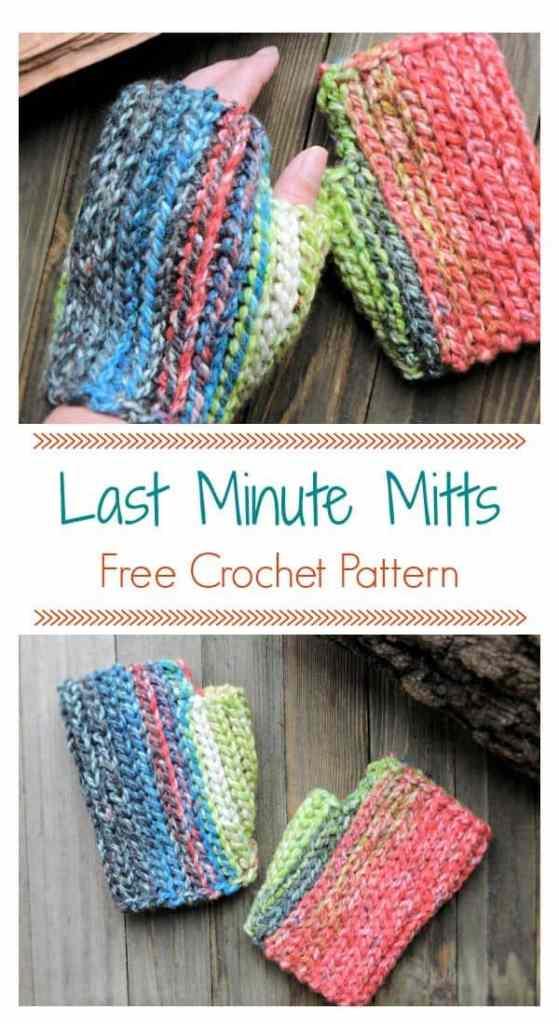 Last Minute Hopscotch Fingerless Mitts CrochetKim Free Crochet Pattern