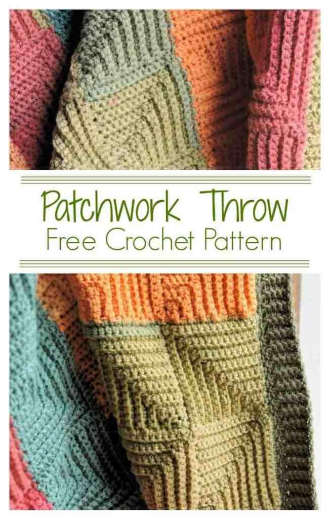 Patchwork Throw CrochetKim Free Crochet Pattern