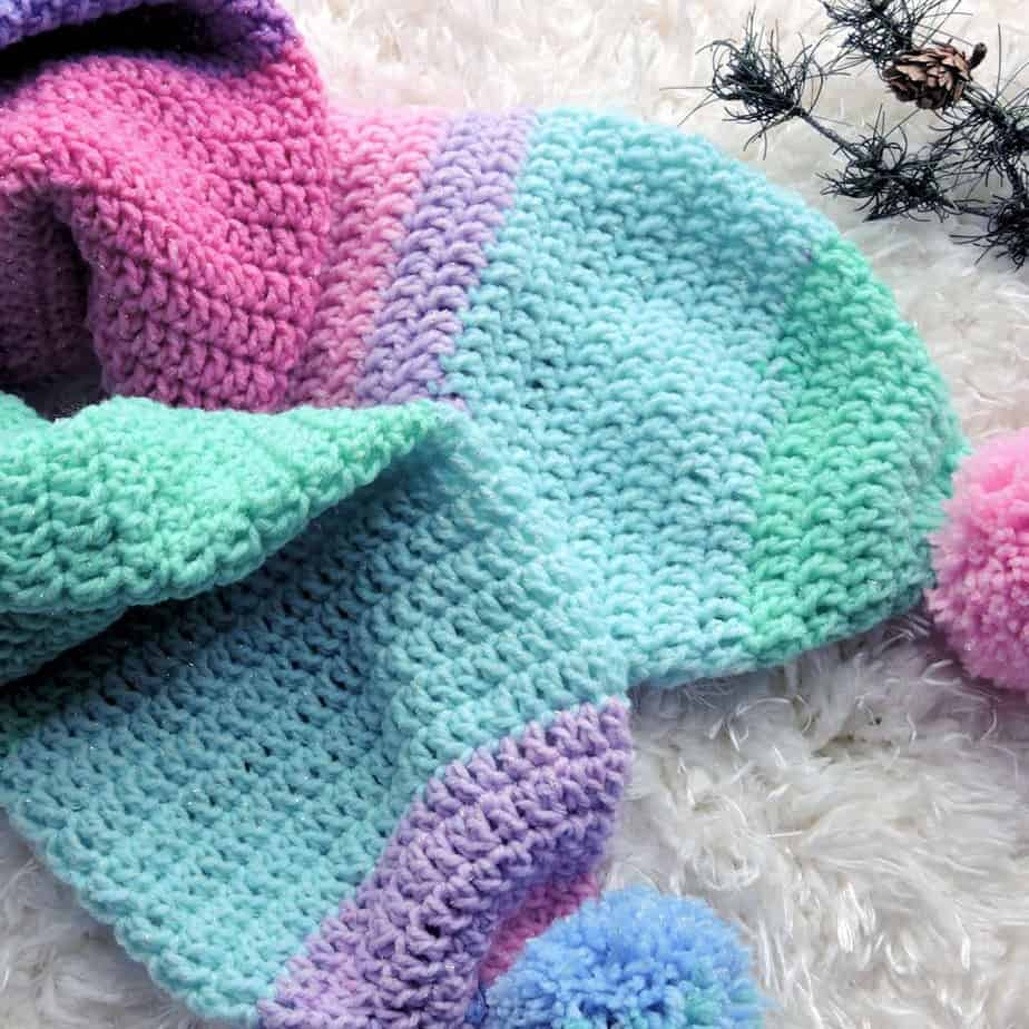 Sparkle Double Thick Scarf Free Crochet Pattern