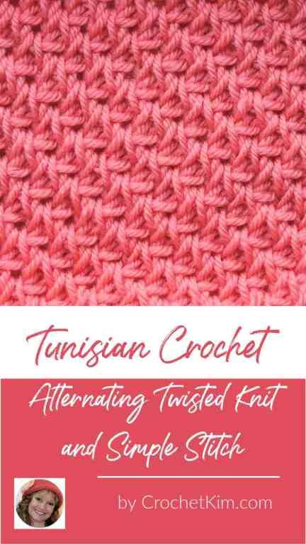 Tunisian Alternating Twisted Knit and Simple Stitch CrochetKim Crochet Stitch Tutorial