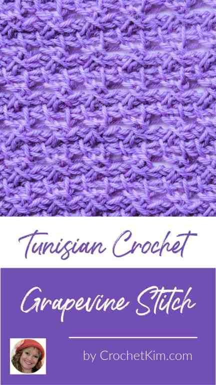 Tunisian Grapevine Stitch CrochetKim Crochet Stitch Tutorial