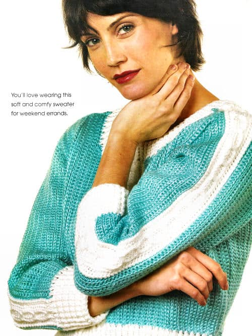 Side to Side Sweater by Kim Guzman featured short stitches or camel crochet