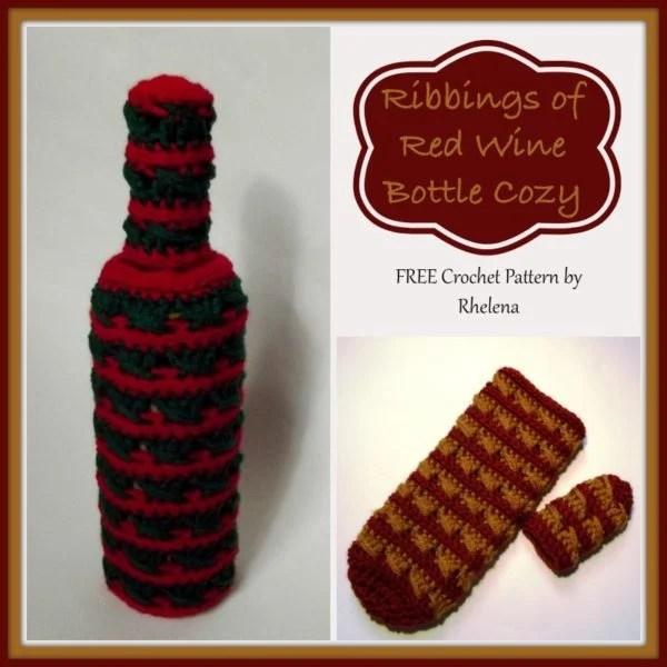 Ribbings Of Red Wine Bottle Cozy Free Crochet Pattern