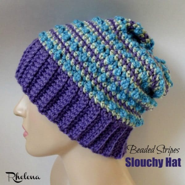 Beaded Stripes Slouchy Hat - CrochetN\'Crafts