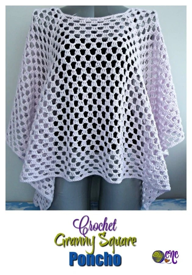Free crochet pattern for a granny square poncho that is easy to adjust in size from child to adult. It's great for summer, or any other season of the year.