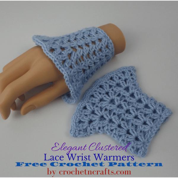 Elegant Clustered Lace Wrist Warmers Crochet Pattern