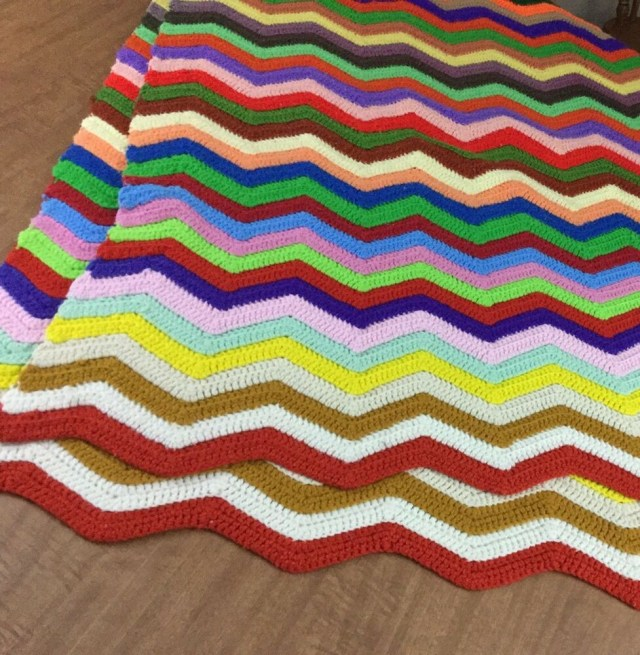 Chevron Zig Zag Crochet Pattern Vintage Knit Chevron Zig Zag Afghan Throw Blanket 60s Hippie Chic