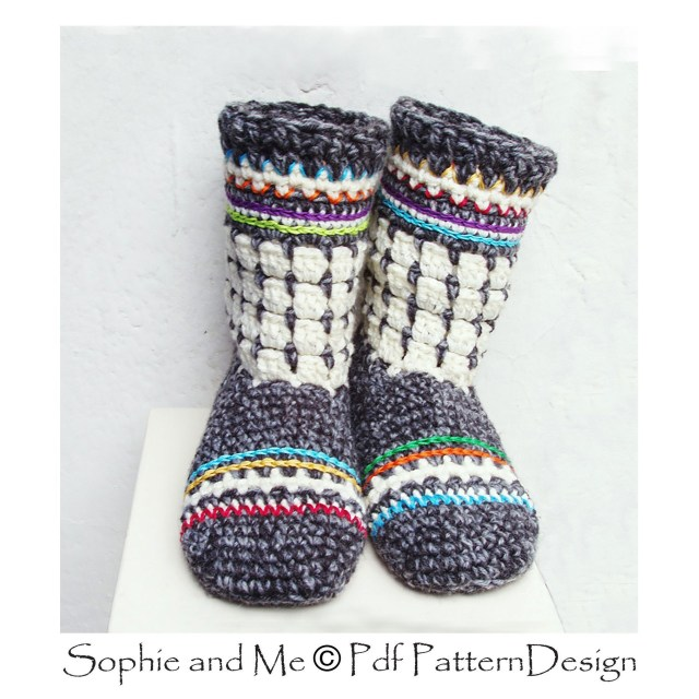Crochet Boots Pattern For Adults Fair Isle Oslo Boots For Adults Crochet Slipper Pdf Pattern Etsy