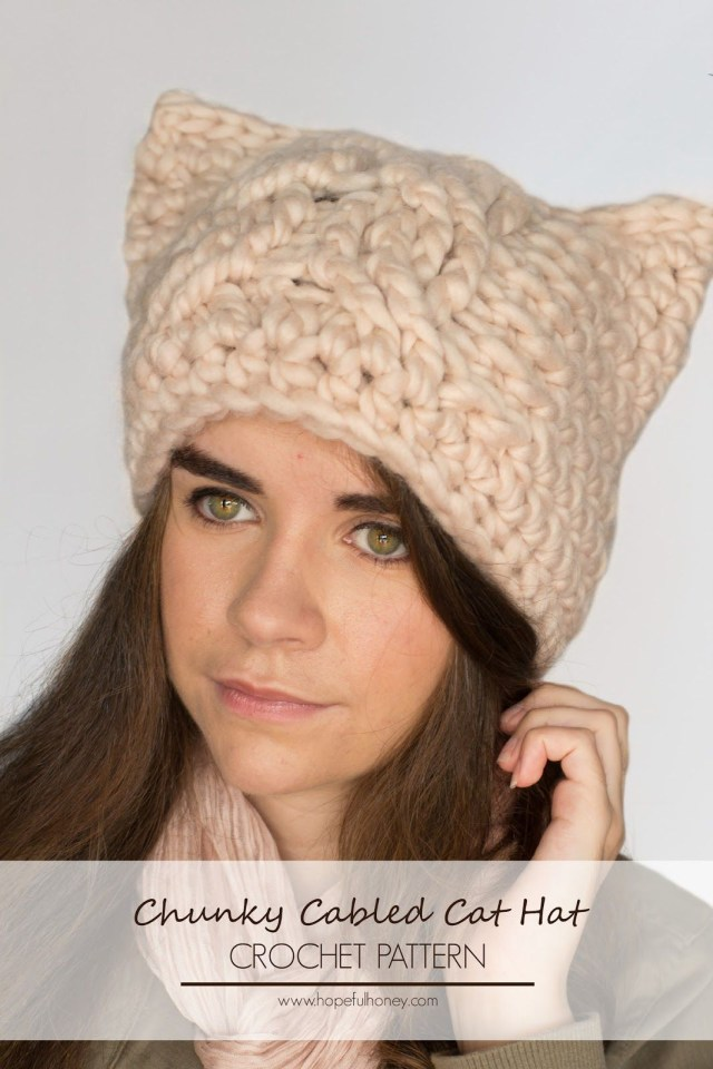 Crochet Cat Hat Pattern Chunky Cabled Cat Hat Crochet Pattern Crochet Patterns Pinterest
