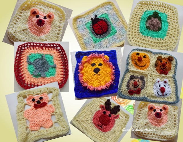 Crochet Granny Square Pattern Sweet Nothings Crochet Really Cute Animal Granny Squares
