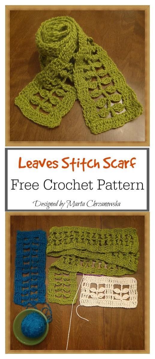 Crochet Leaf Pattern Video Little Leaves Stitch Scarf Free Crochet Pattern Cool Creativities