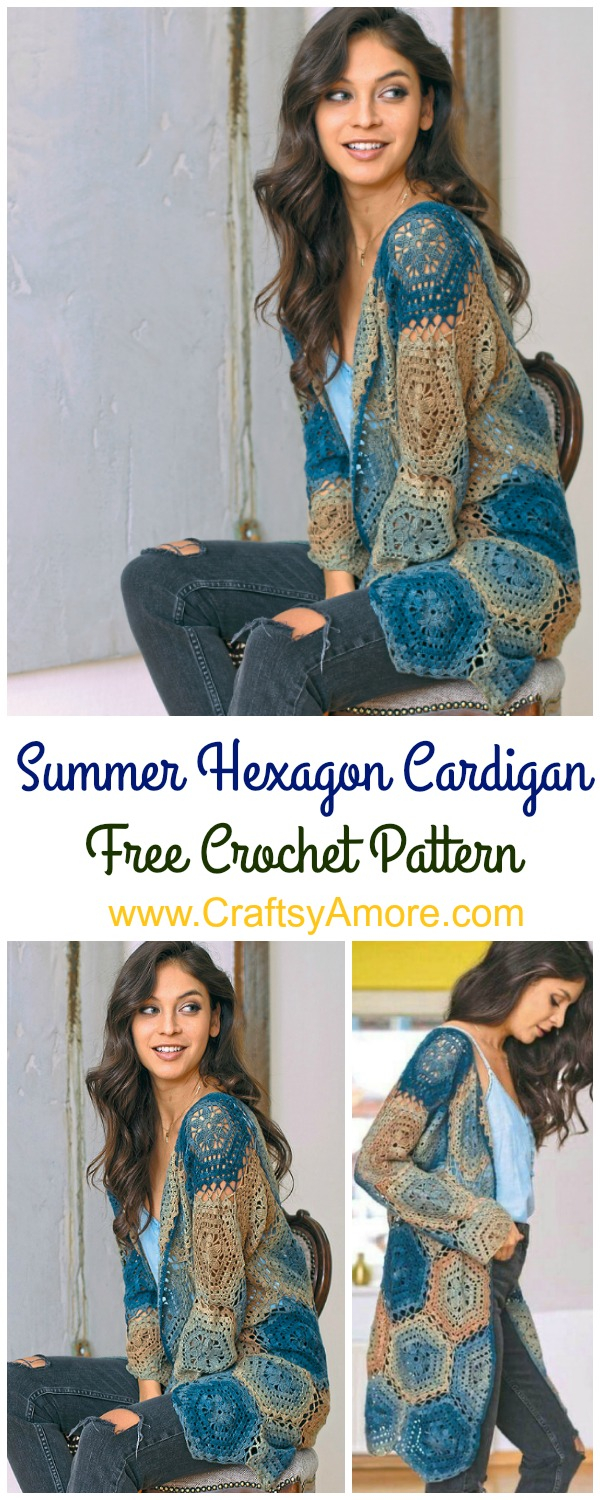 Crochet Long Cardigan Pattern Crochet Summer Hexagon Cardigan Free Pattern