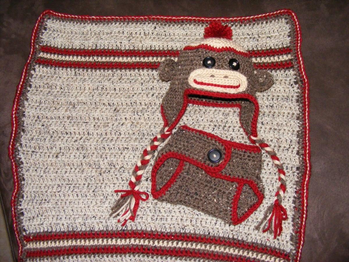 Crochet Monkey Blanket Pattern Centersock Monkey Ba Set Crochetcenter