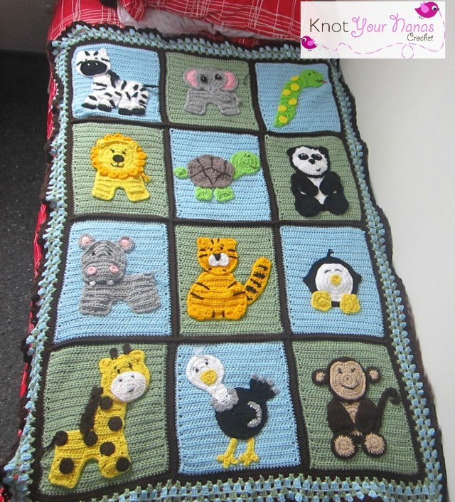 Crochet Monkey Blanket Pattern Zoo Blanket Crochet Animal Applique Patterns Available For Purchase