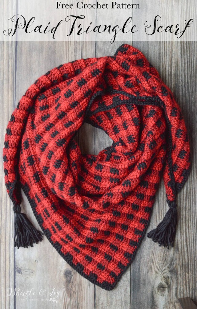 Crochet Pattern Scarf Crochet Plaid Triangle Scarf Free Crochet Pattern Whistle And Ivy