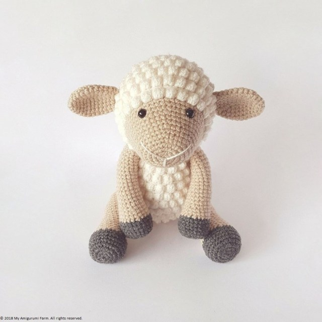 Crochet Popcorn Sheep Amigurumi Free Pattern Video - Crochet Sheep ... | 640x640