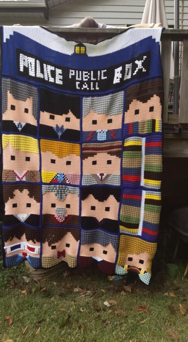 Doctor Who Crochet Blanket Pattern Doctor Who Faces Of The Doctor Afghan 13th Doctor Whoghan Etsy