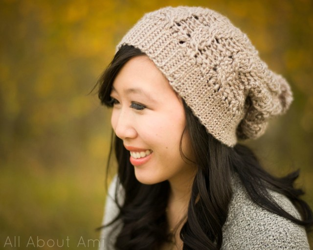 Easy Crochet Slouchy Hat Pattern Cabled Slouchy Beanie All About Ami