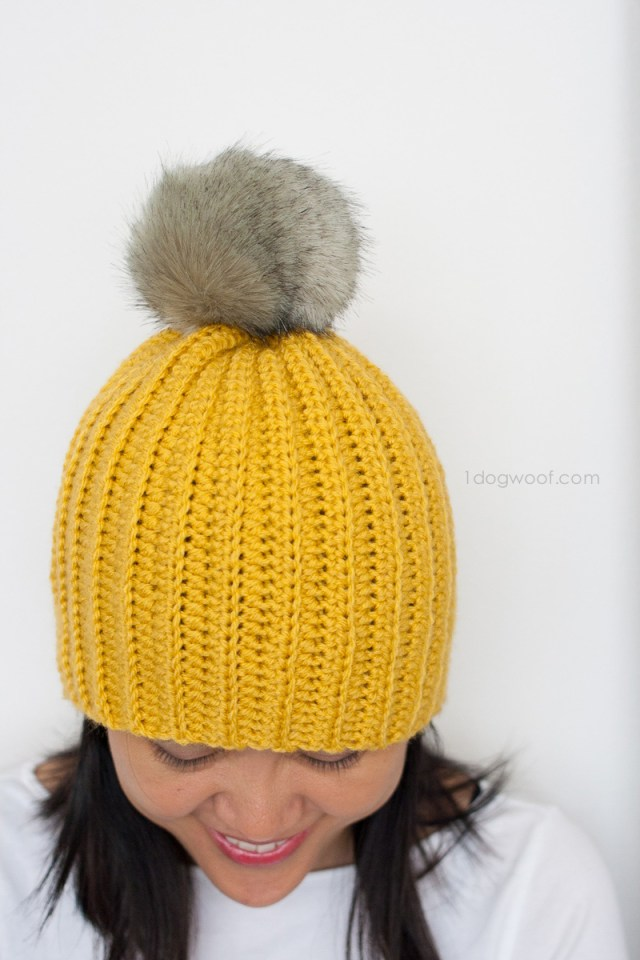 Free Crochet Hat Patterns For Adults Lolly Poms Easy Ribbed Crochet Beanie One Dog Woof