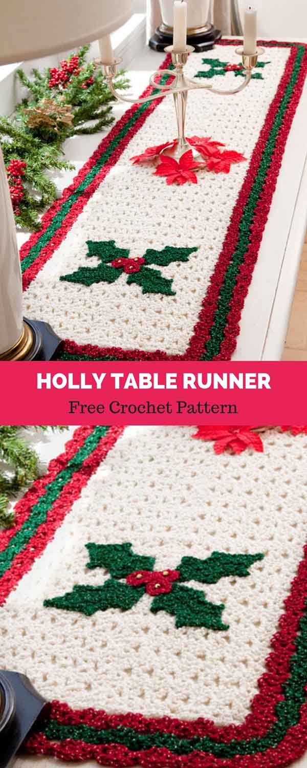 Free Crochet Table Runner Patterns Holly Table Runner Free Crochet Pattern Daily Crochet Patterns