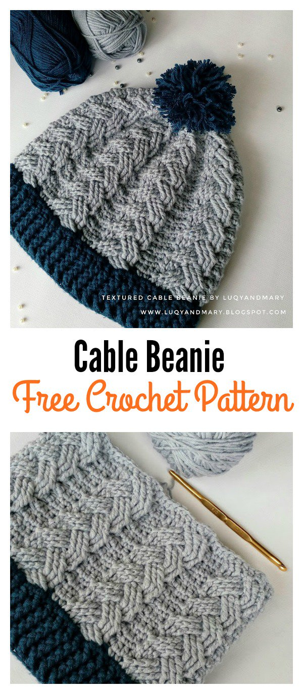 Free Hat Crochet Patterns Cable Beanie Hat Free Crochet Pattern