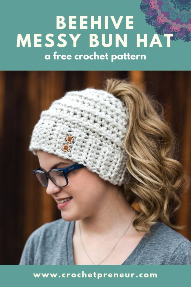 Free Hat Crochet Patterns Free Crochet Pattern Beehive Messy Bun Hat Crochetpreneur
