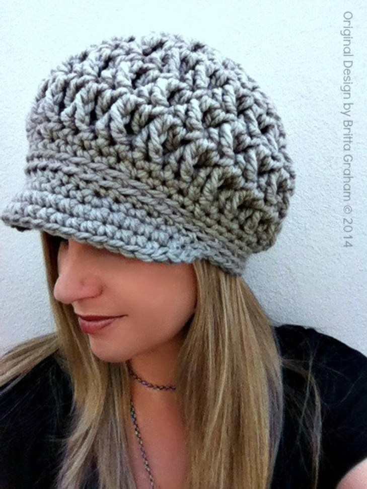 83c56b78b3a Newsboy Hat Crochet Pattern Newsboy Crochet Hat Pattern For Super Bulky  Yarn The Etsy