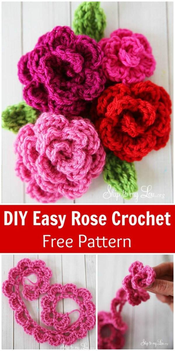Simple Crochet Rose Pattern Crochet Flowers 90 Free Crochet Flower Patterns Diy Crafts