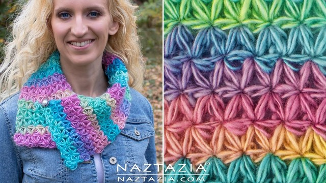 Snood Scarf Crochet Pattern Diy Tutorial How To Crochet Oh My Stars Scarf Puffed Flower Star