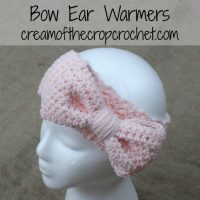 Bow Ear Warmers ~ Cream Of The Crop Crochet