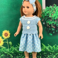 "18"" Doll Polka Dot Dress by Pamela from Adoring Doll Clothes"