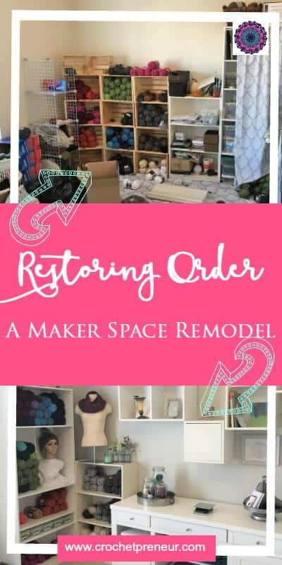 CRAFT ROOM REMODEL   MAKER SPACE REMODEL   CROCHET STUDIO My crochet studio/craft room was in chaos for months and I couldn't take it any longer. I'm so excited to finally share my maker space remodel with you!