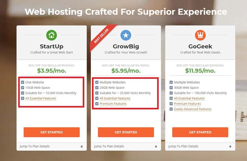 Select Web Hosting Plan on Siteground